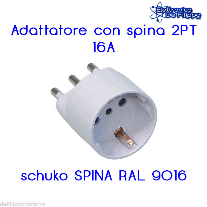 Adattatore con spina 2PT 16A schuko SPINA RAL 9016 16A IT