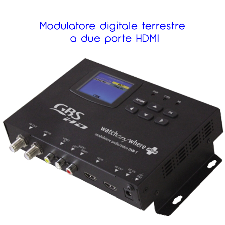 MODULATORE DIGITALE AUDIO VIDEO DVB-T HD COFDM RF SENDER PLL HDMI COMPATIB. SKY