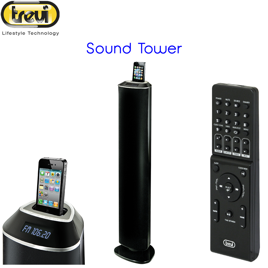SISTEMA STEREO AMPLIFICATO 2.1 A TORRE PER TV SMARTPHONE IPHONE IPAD IPOD