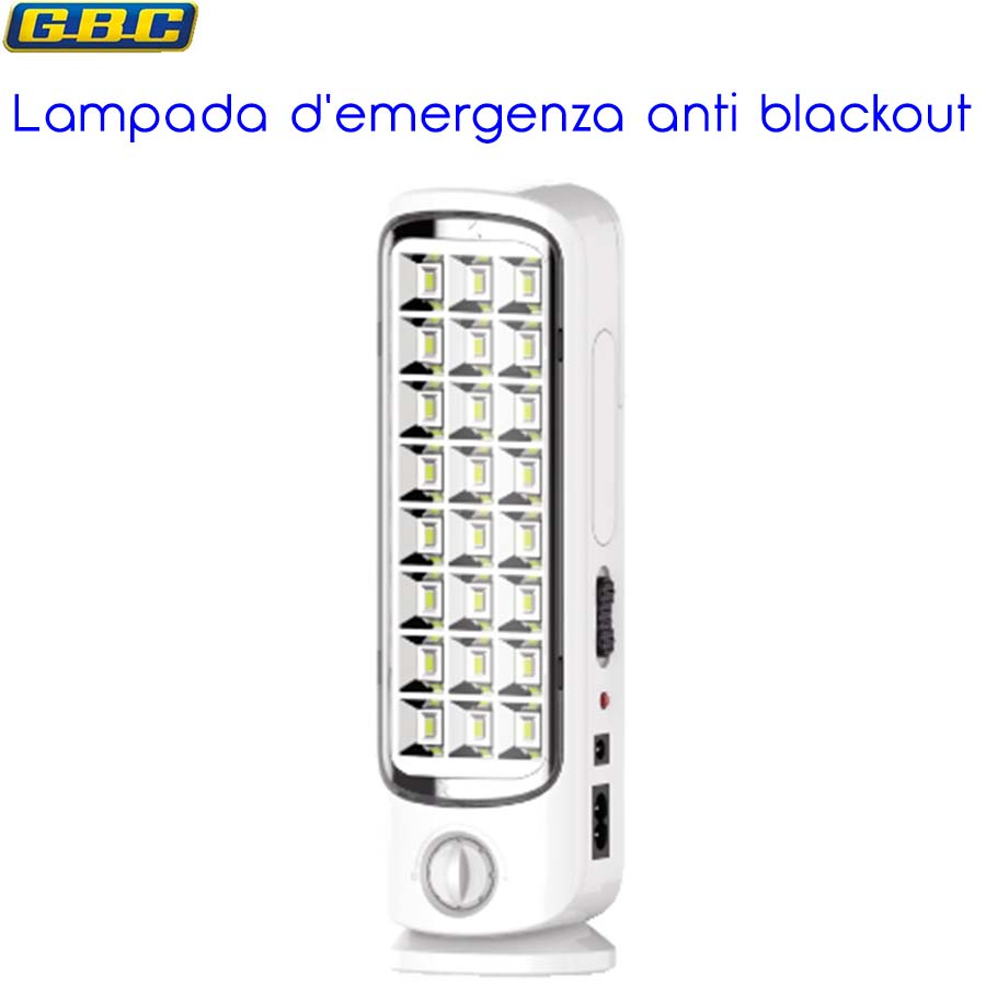 LAMPADA RICARICABILE A LED ANTI BLACK-OUT CON DIMMER