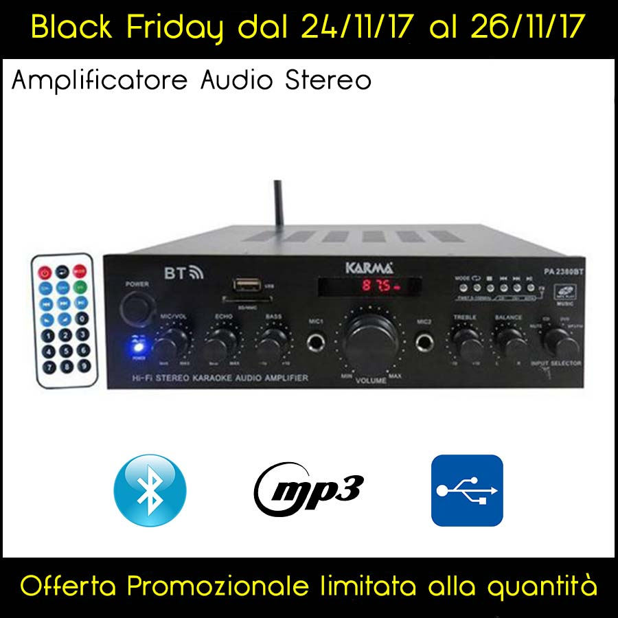 AMPLIFICATORE AUDIO STEREO BLUETOOTH ST 2X50W USB FM MP3 - Black Friday