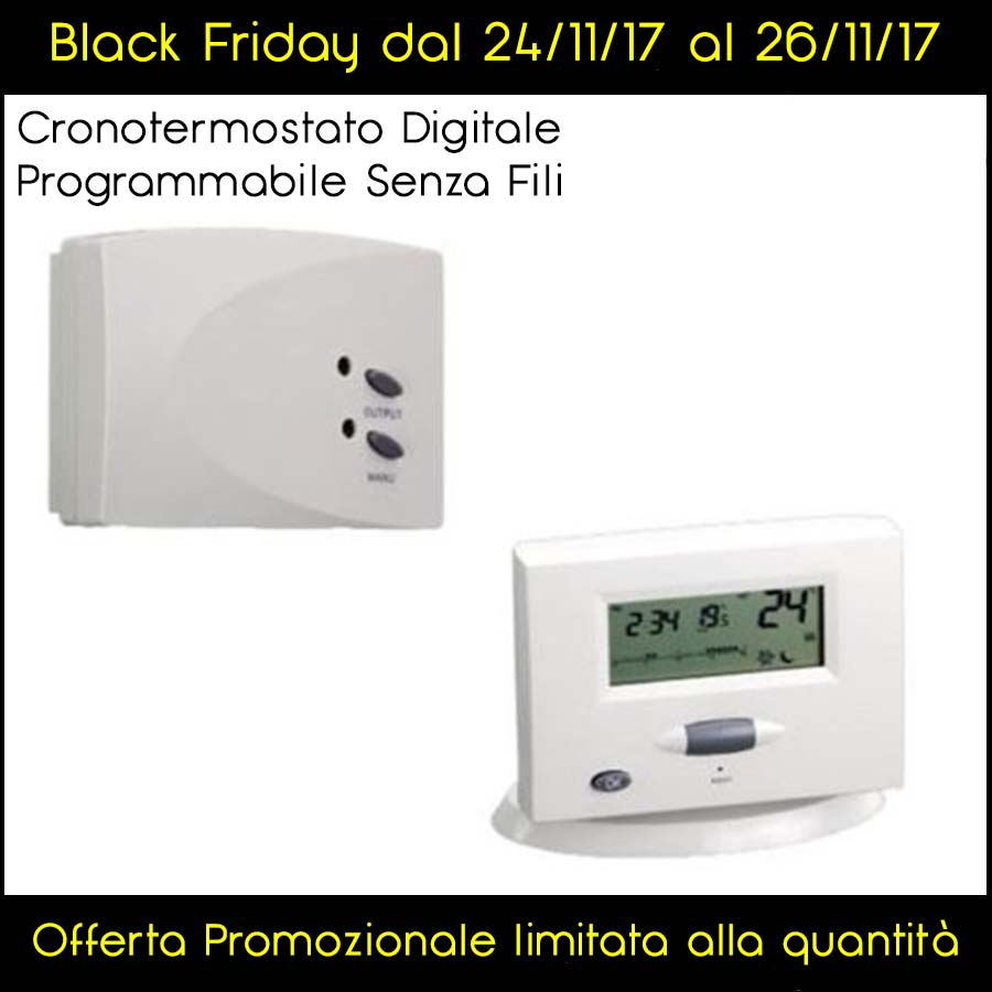CRONOTERMOSTATO DIGITALE WIRELESS SENZA FILI PROGRAMMABILE - BLACK FRIDAY