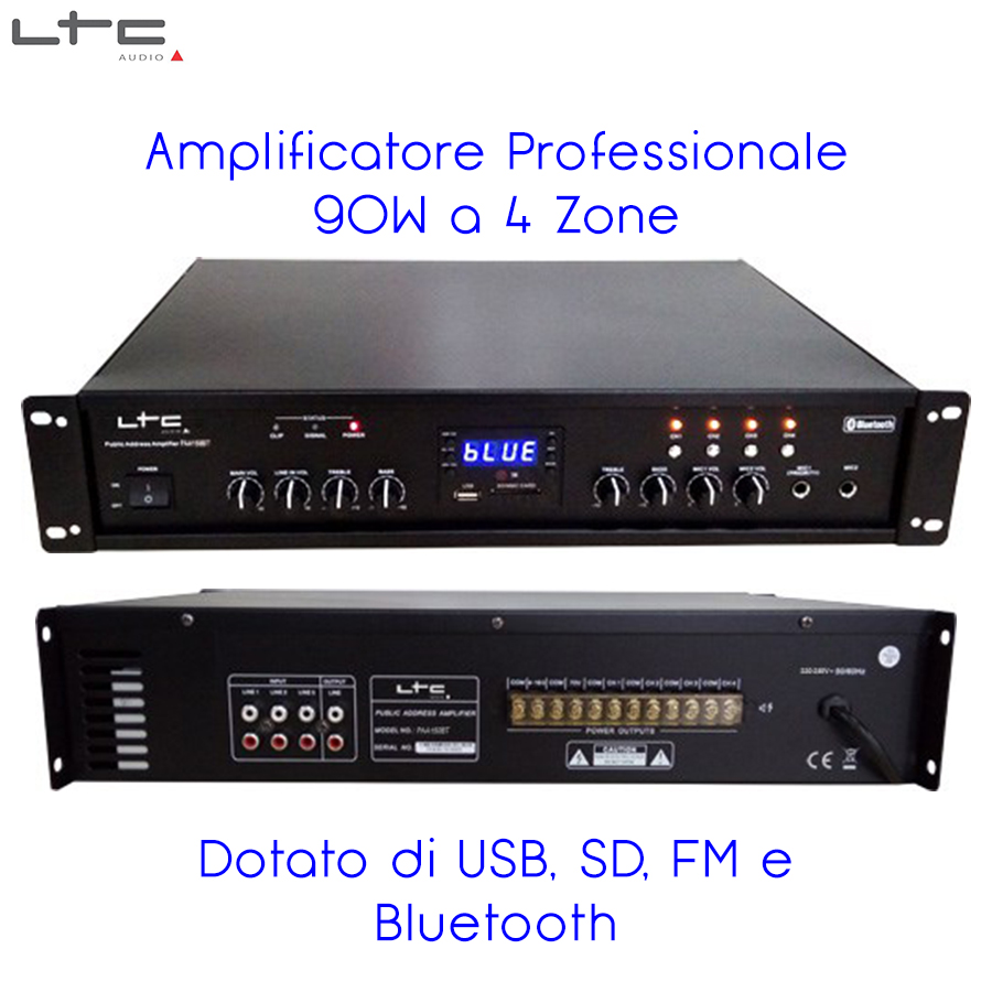 Amplificatore PA Bluetooth USB SD FM 90W 4 zone 16 Ohm 95-1003