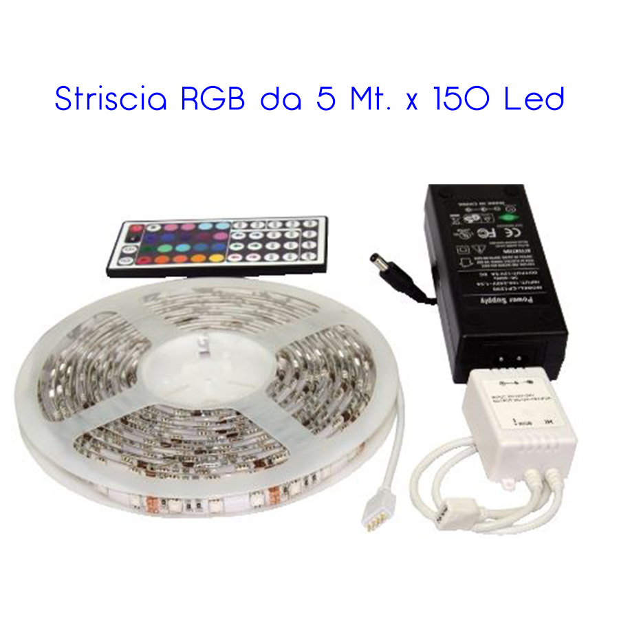 KIT STRISCIA 5M 150 LED SMD 5050 IN/OUT RGB CON ALIMENTATORE 12V/3A E CONTROLLER