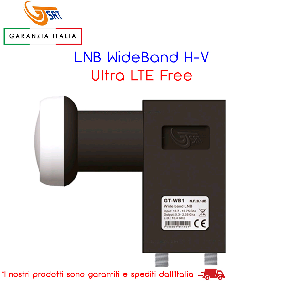 ILLUMINATORE LNB WIDE BAND H-V GTSAT ULTRA LTE FREE