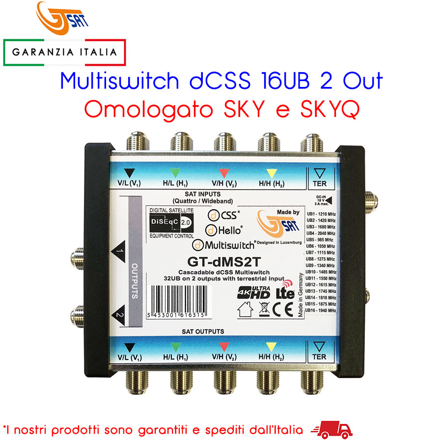 MULTISWITCH DCSS 16UB 2 OUT GT-SAT TV OMOLOGATO SKY e SKYQ