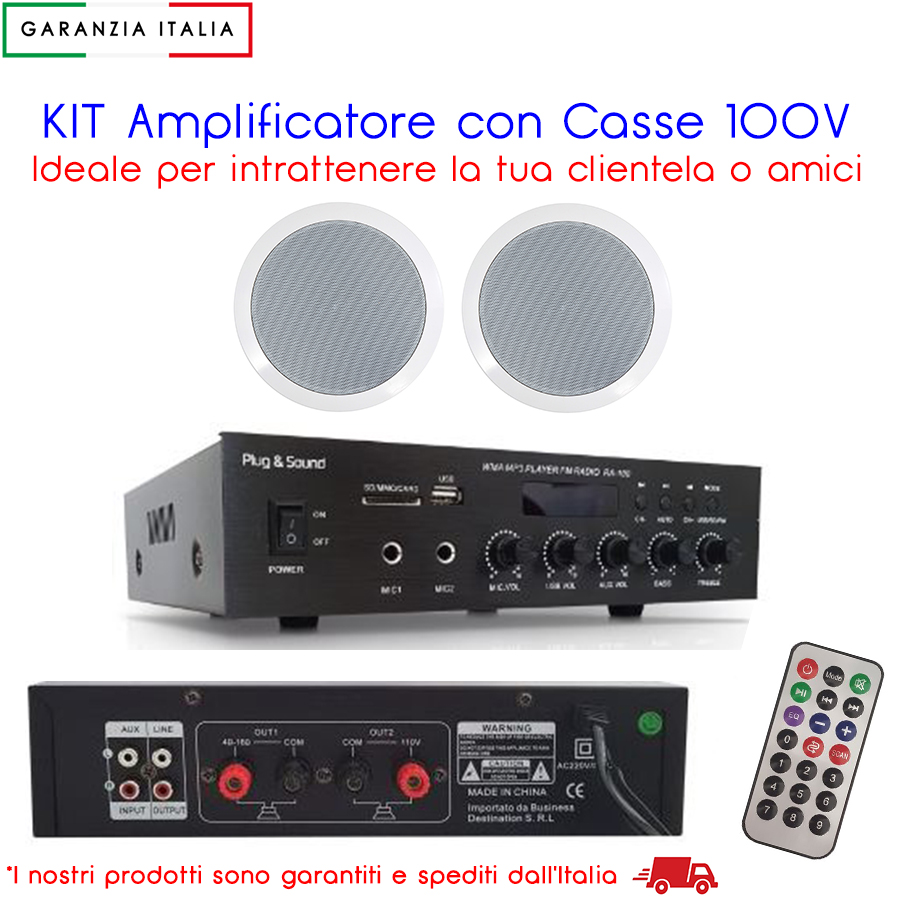 KIT Amplificatore 100V RA100 con coppia casse ideale per locale bar pub