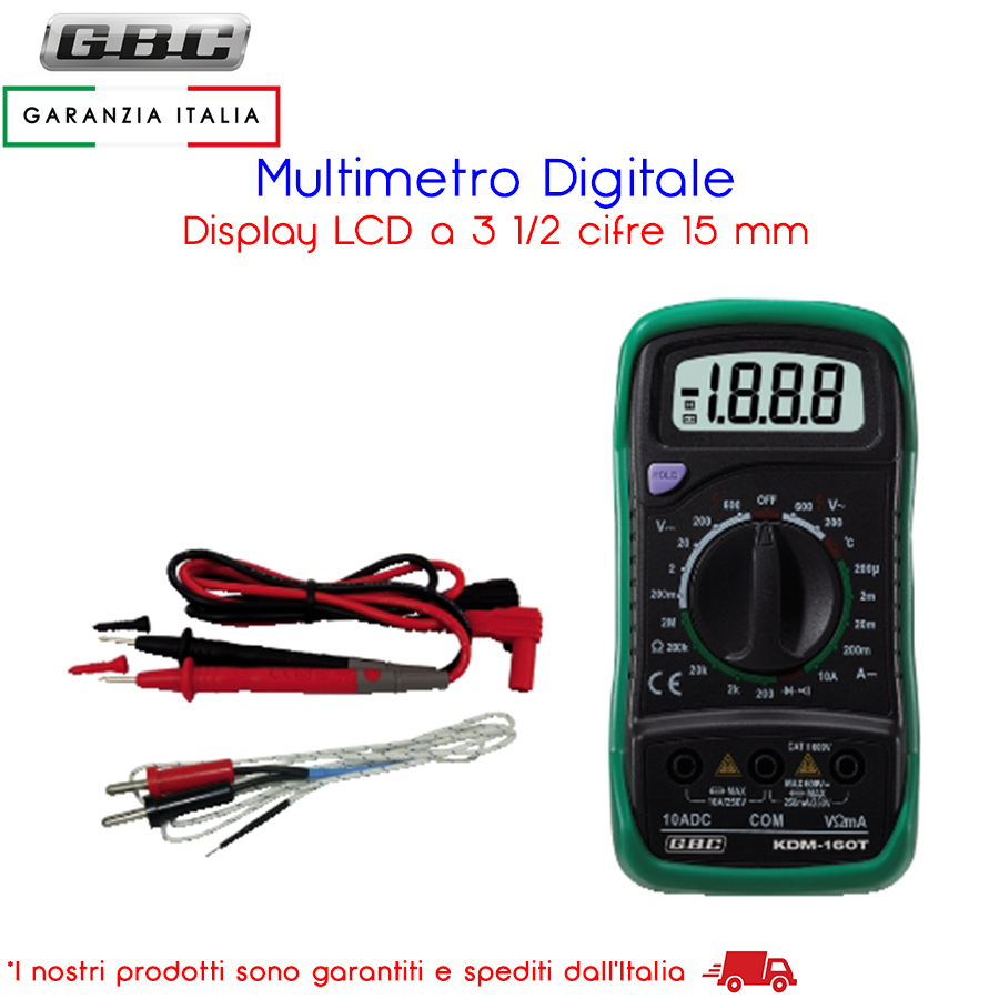 MULTIMETRO TESTER DIGITALE CON TERMOMETRO E DISPLAY LCD GBC