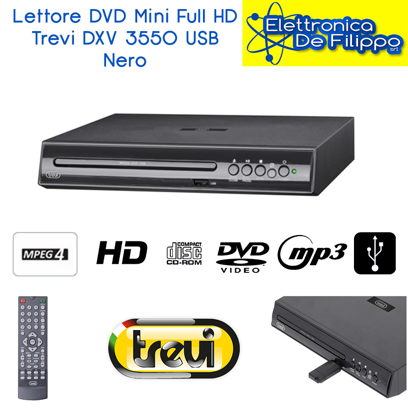 Lettore DVD Mini Full HD Trevi DXV 3550 USB Nero 0355000