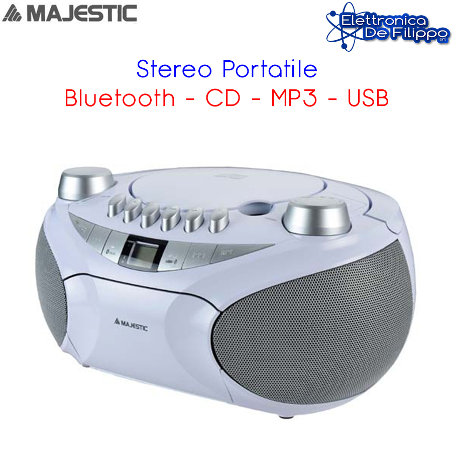 LETTORE CD/MP3 PORTATILE BLUETOOTH RIPRODUTTORE REGISTRATORE CASSETTA RADIO USB