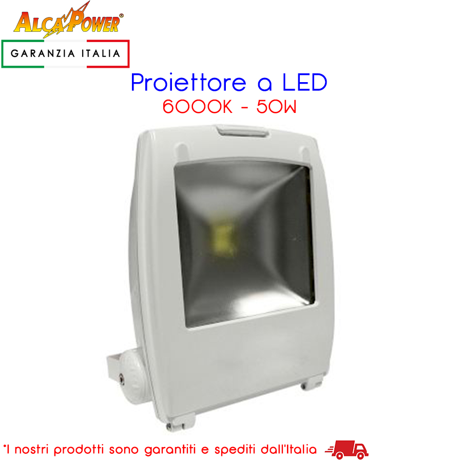 Proiettore Led Bianco 230V 50W 4000lm 6000K - AlcaPower - 930143