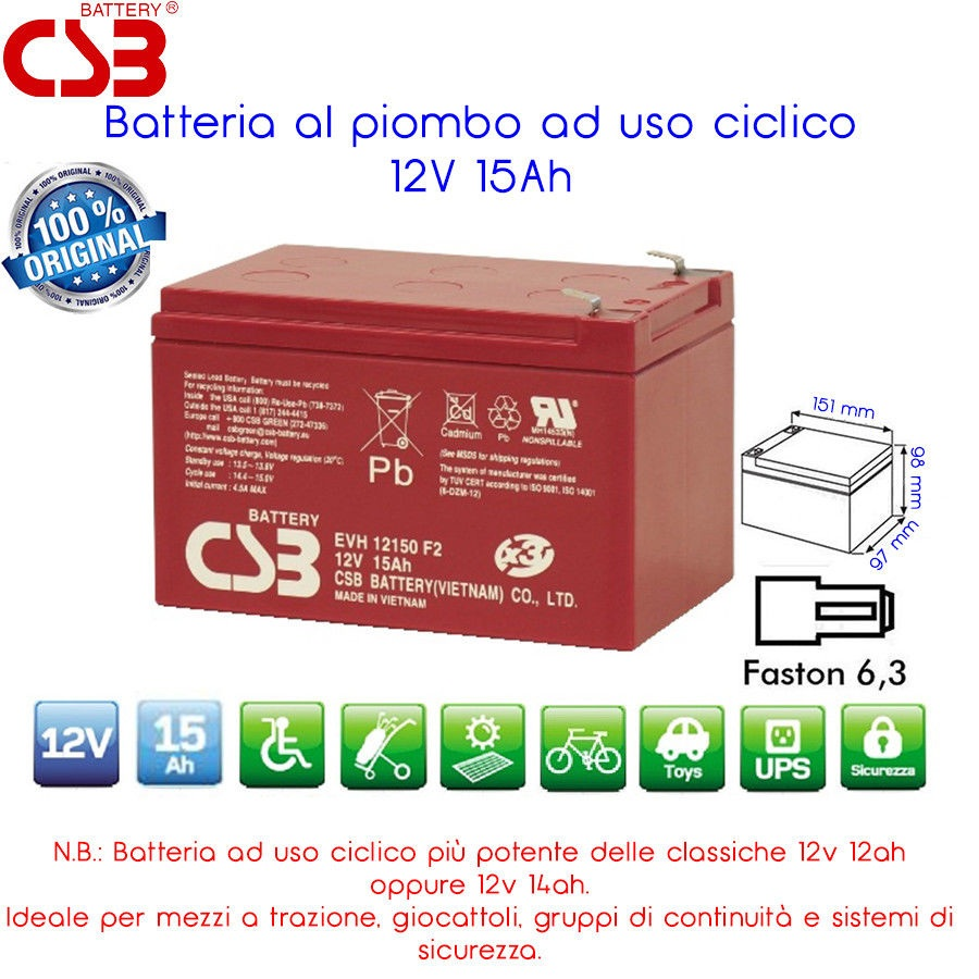 BATTERIA RICARICABILIE PIOMBO 12 VOLT 15 A PER RESET WINDBIKE CICLICO