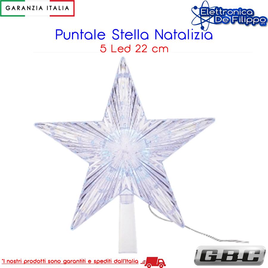 Stella Di Natale A Batteria.Puntale Di Natale A Stella Da 5 Led 22cm A Batteria Multicolor