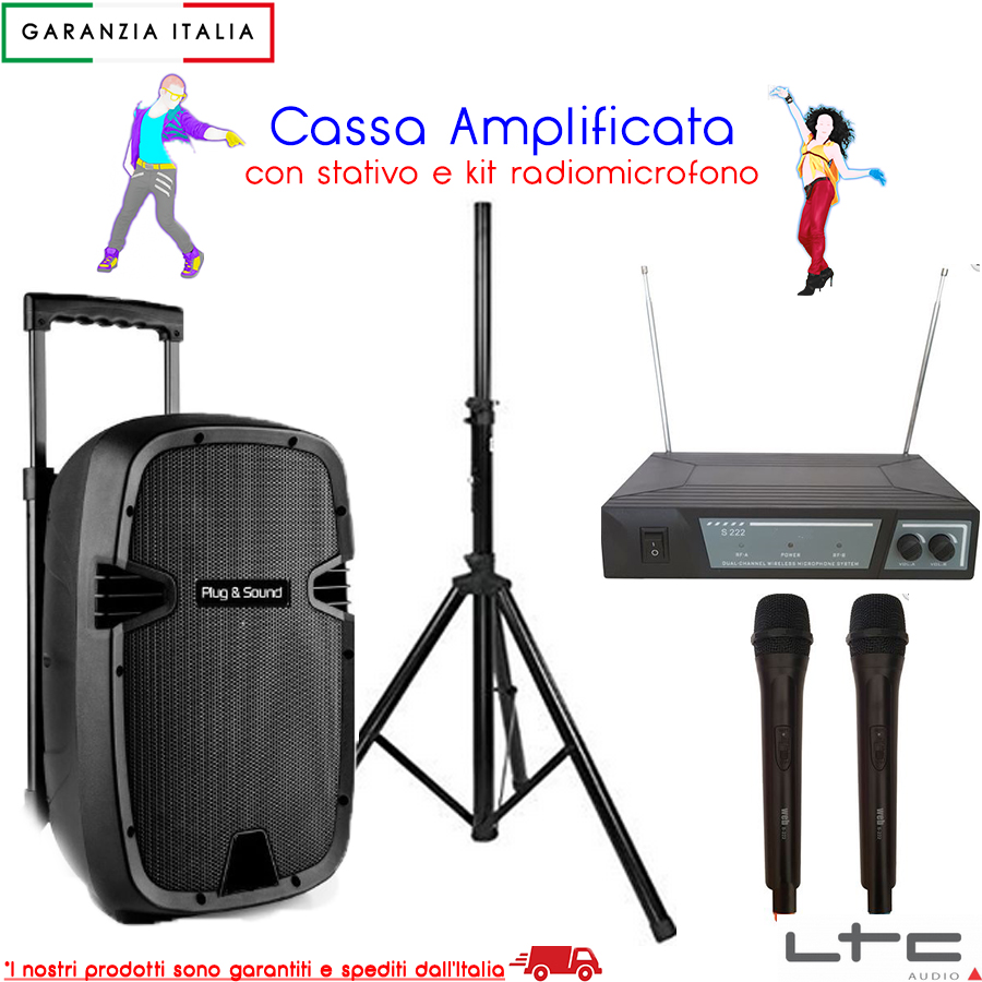 KIT cassa amplificata bluetooth usb sd trolley batteria stativo e 2 microfoni