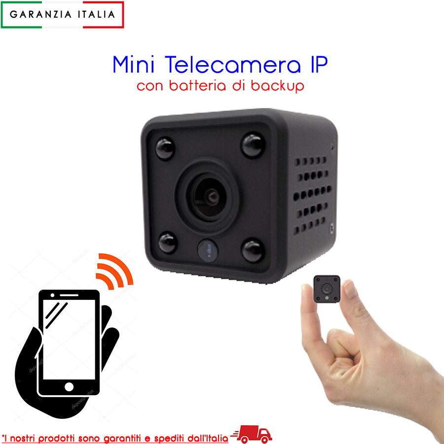 MINI TELECAMERA IP WI-FI DA INTERNO HD 960P BATTERIA DI BACKUP COMPATIBILE ONVIF