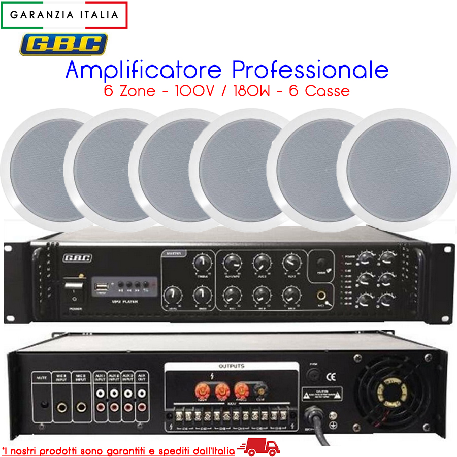 AMPLIFICATORE PROFESSIONALE 100V / 180W A 6 CASSE CON MP3 61611240