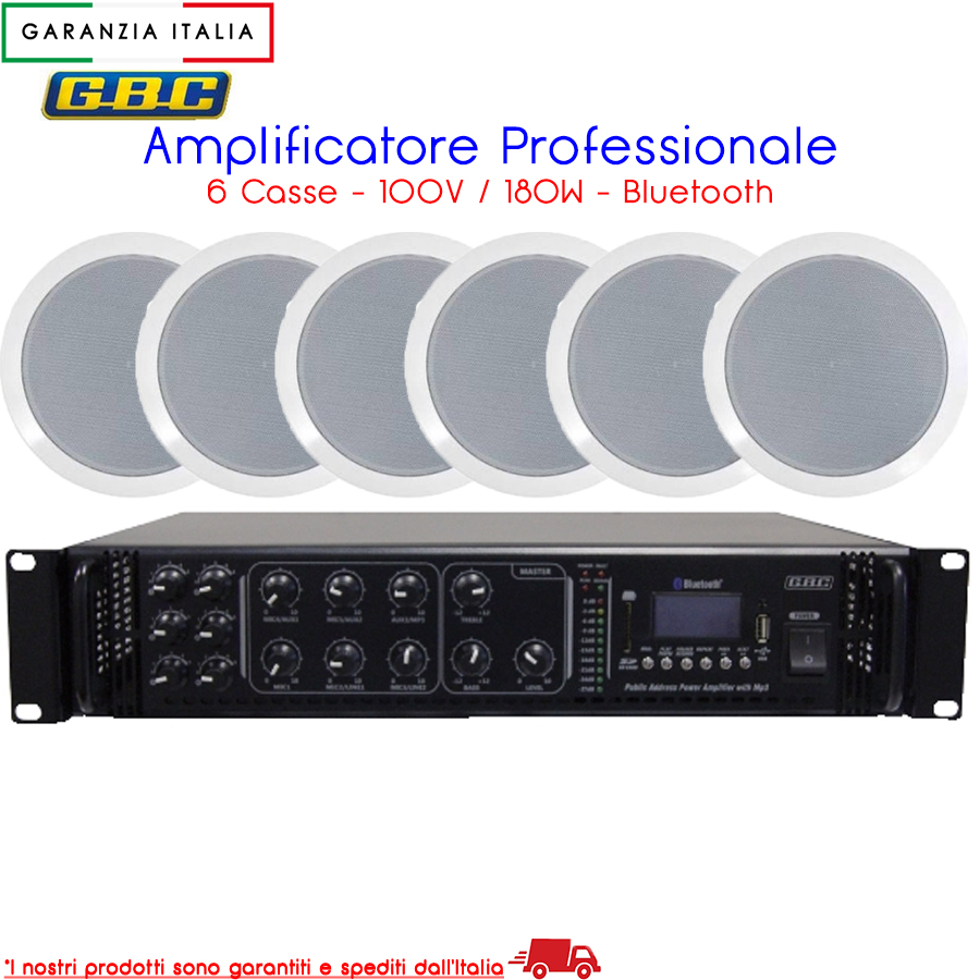 AMPLIFICATORE PROFESSIONALE 100V 180W 6 ZONE MP3 BT CON 6 CASSE