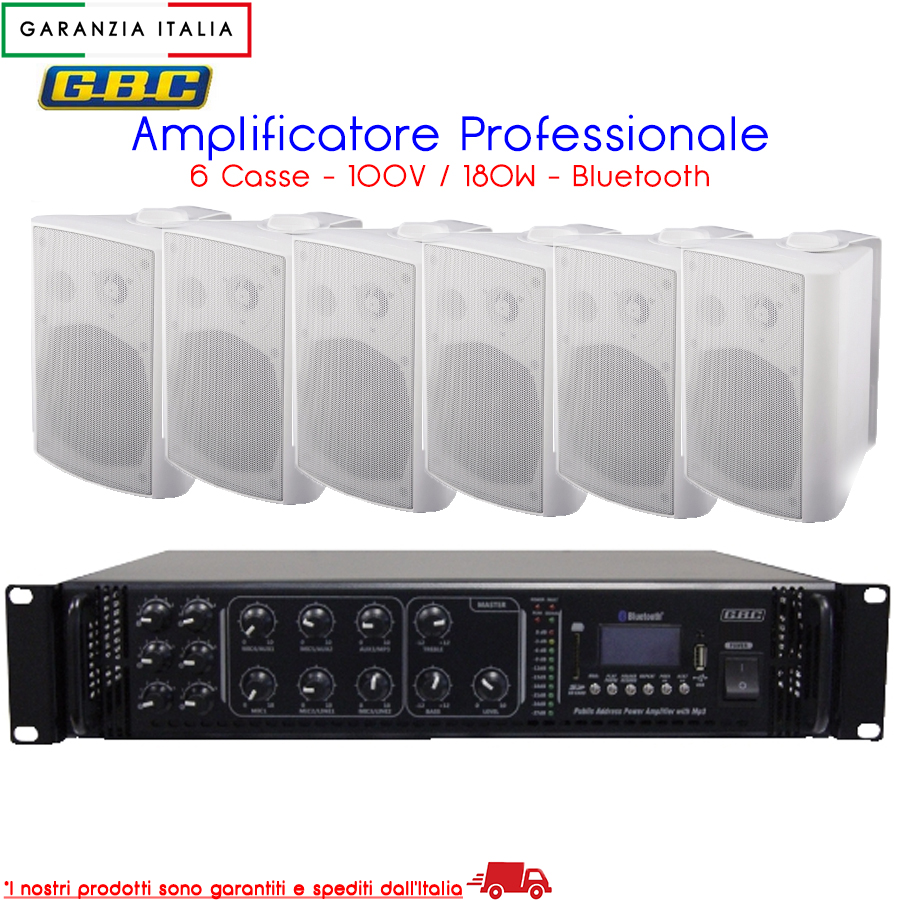 AMPLIFICATORE PROFESSIONALE 100V 180W A 6 CASSE BIANCHE CON MP3 FM E BLUETOOTH