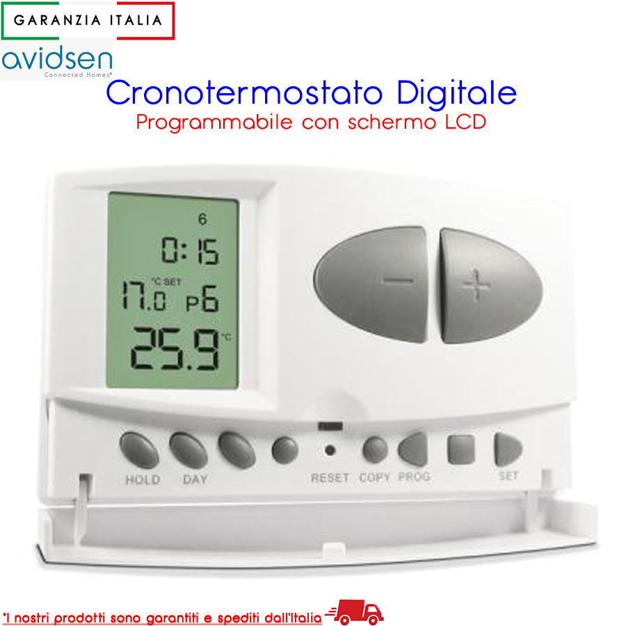 Cronotermostato digitale programmabile con display LCD - Avidsen 103954