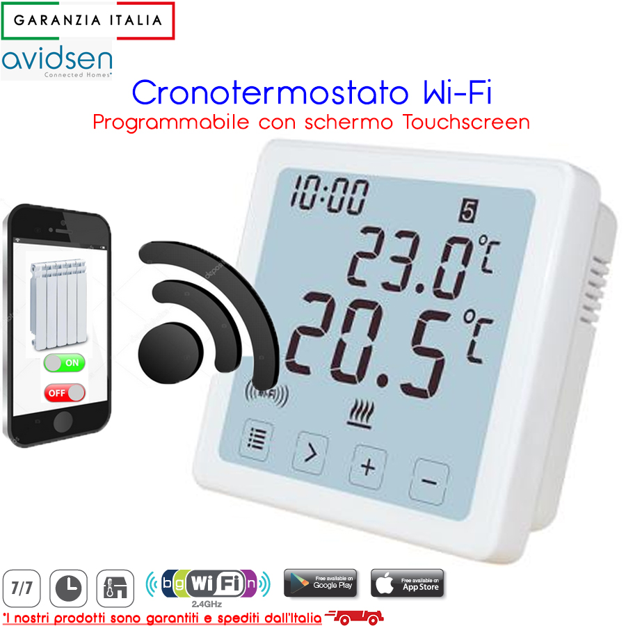 Cronotermostato Digitale WiFi Touchscreen - Avidsen 103955