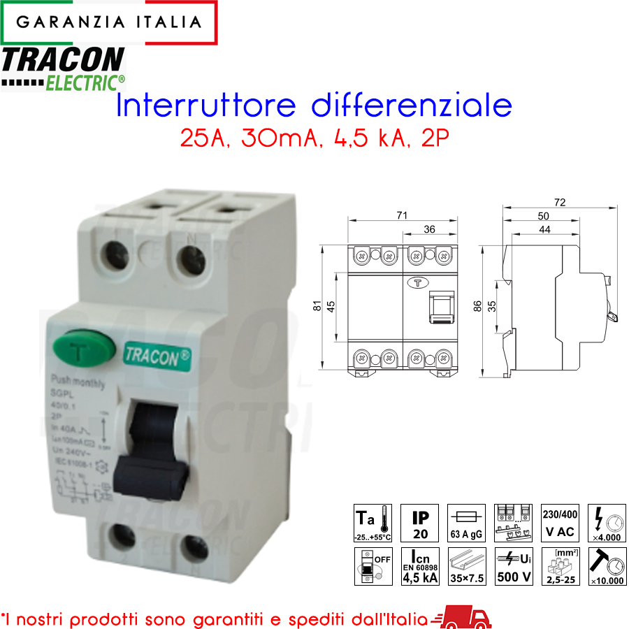 Interruttore differenziale, 2 poli - Tracon RB2-25030