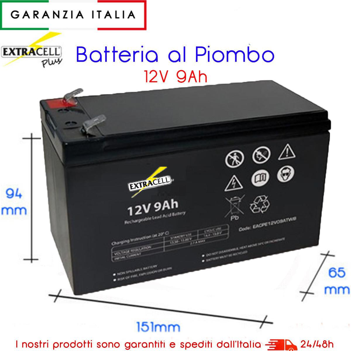 Batterie Per Lampade Di Emergenza.Batteria Ermetica Ricaricabile Al Piombo 12v 9ah Ideale Per Lampade Di Emergenza