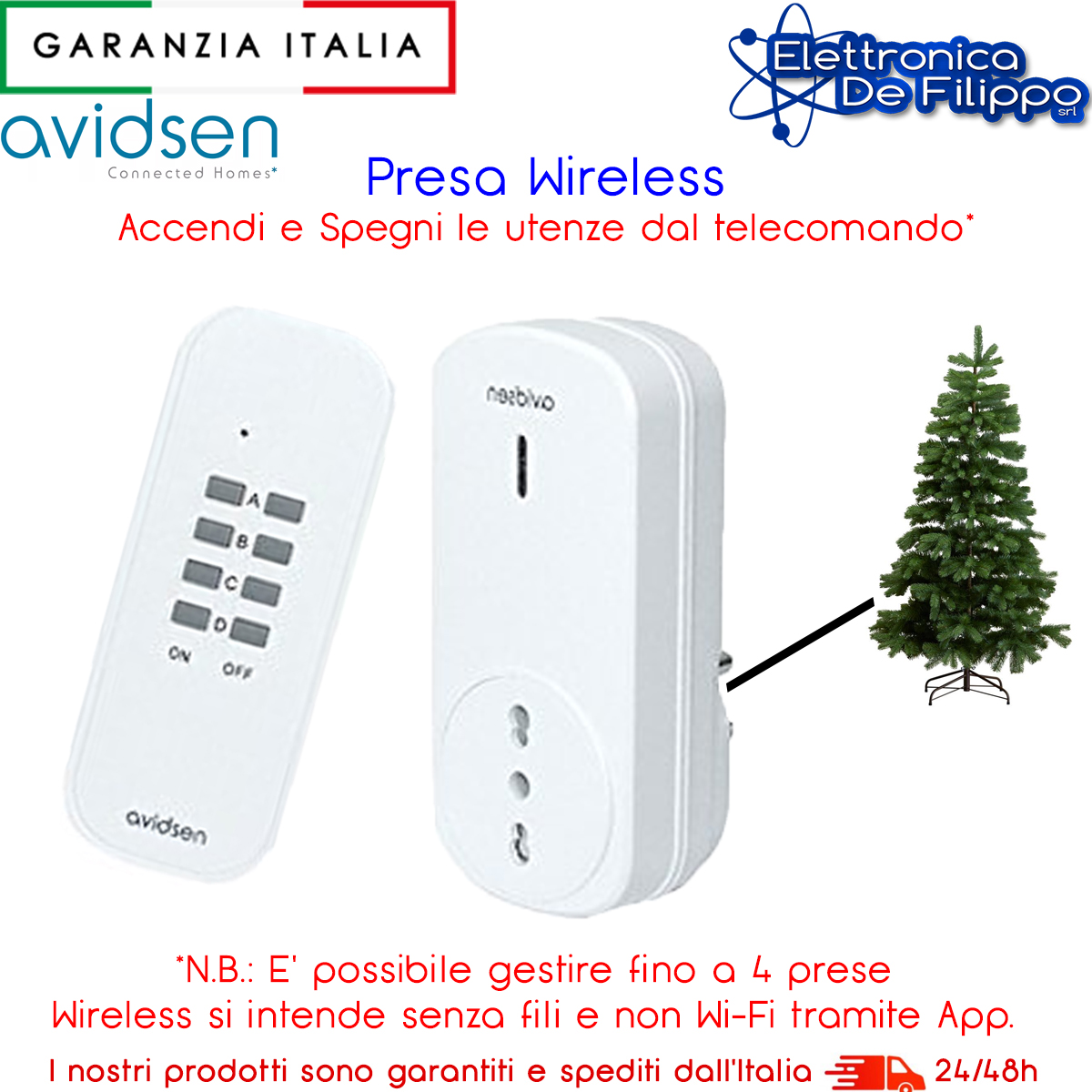 Avidsen 103113 Presa Telecomandata Bianco