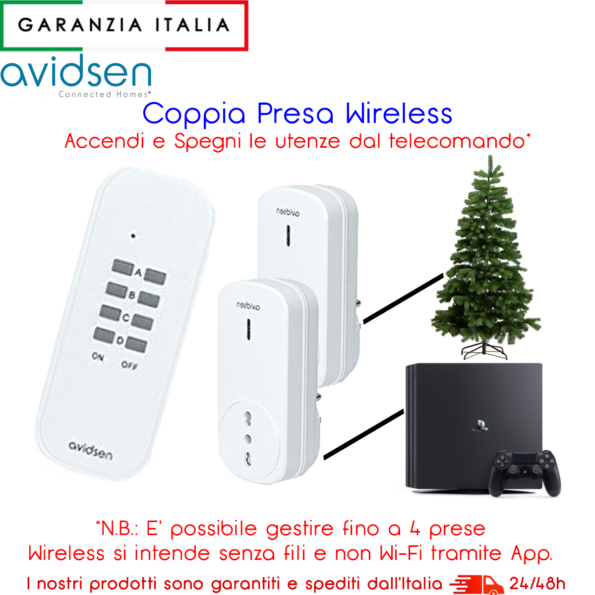 KIT DUE PRESE DI ALIMENTAZIONE TELECOMANDATE CON TELECOMANDO WIRELESS INCLUSO