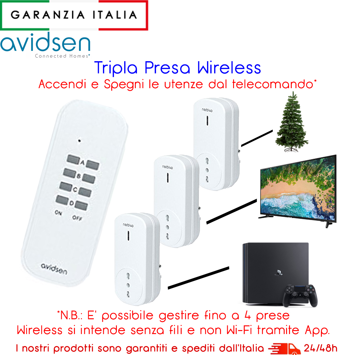 KIT 3 PRESE ELETTRICHE AZIONABILI A DISTANZA CON TELECOMANDO WIRELESS INCLUSO
