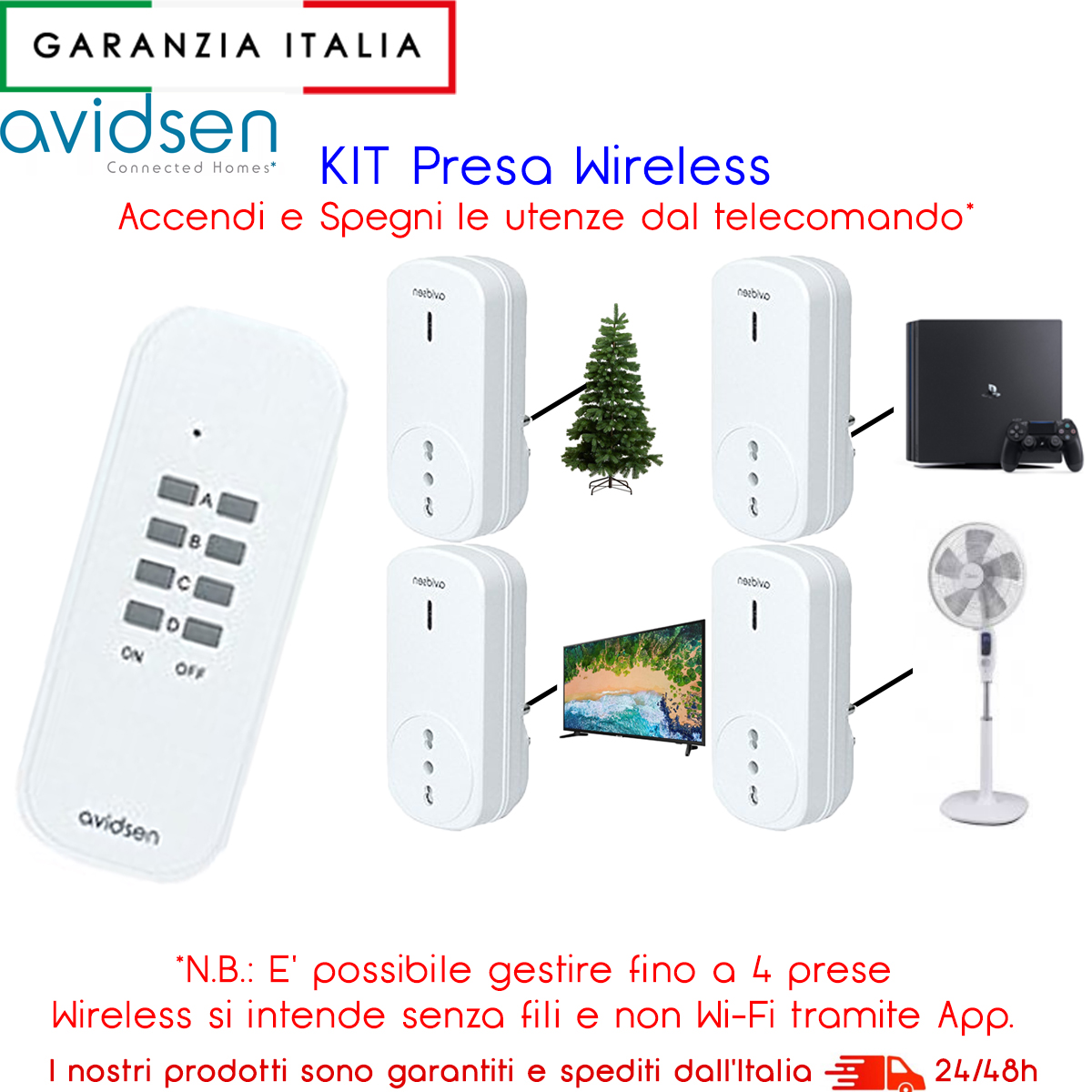 KIT 4 Prese con telecomando wireless per azionare a distanza i tuoi dispositivi