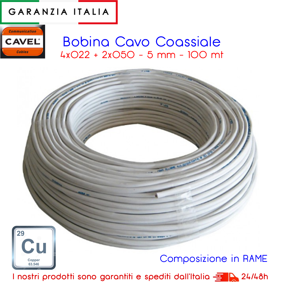 CAVO ALLARME 4X0,22 e 2X0,50 CAVEL - Made In Italy - CU Rame