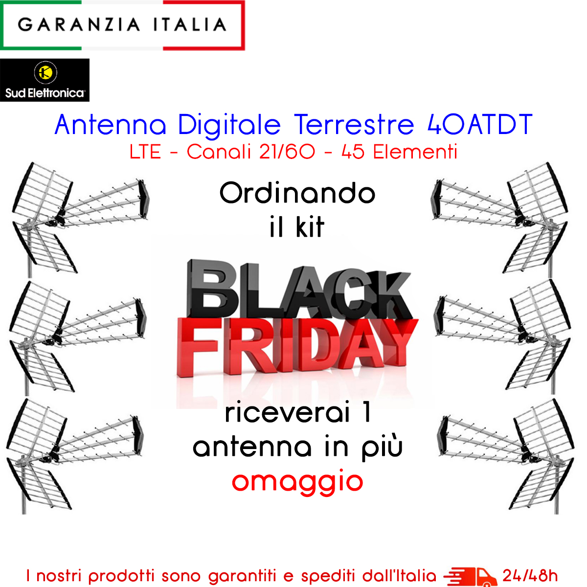 Promo Black Friday 5 pz Antenna digitale terrestre 45 elementi UHF 1 omaggio