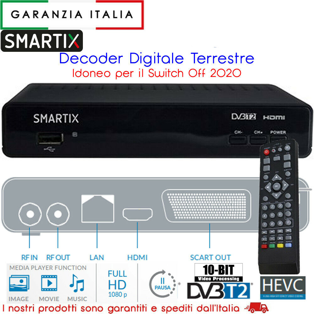 RICEVITORE DIGITALE TERRESTRE SMARTIX HD DBV-T2 H.265 10 BIT PER SWITCH OFF 2020