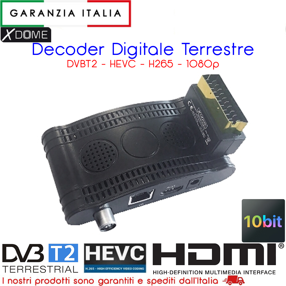 RICEVITORE DVB-T2 MINI-SCART HEVC HD 10 BIT PRONTO PER SWITCH OFF 2020