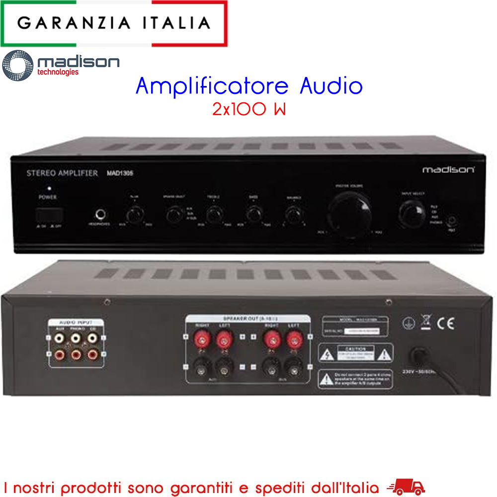 Amplificatore Madison stereo 2x In Line 1x Presa Jack 3.5mm 100W