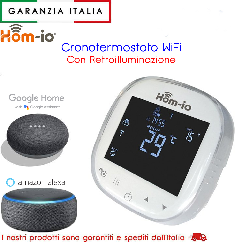 Termostato smart wifi hom-io compatibile con Alexa e Google Home Assistant