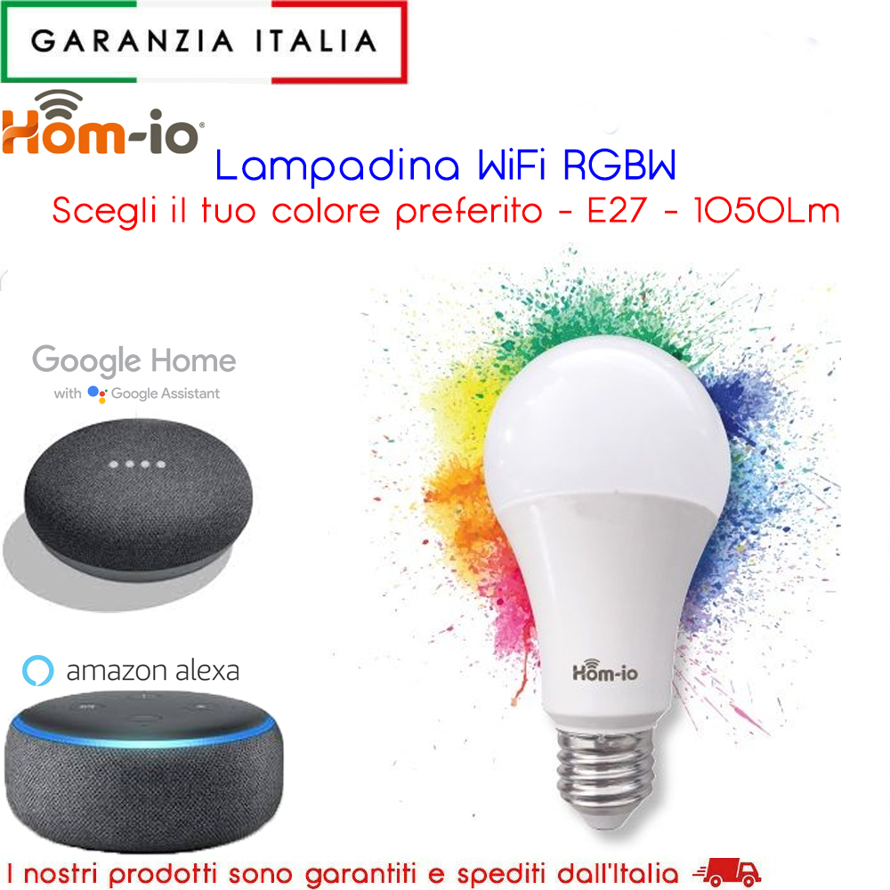 LAMPADA LED WIFI LUCE BIANCA RGB MULTICOLOR E27 ALEXA GOOGLE ASSIST. SMARTPHONE