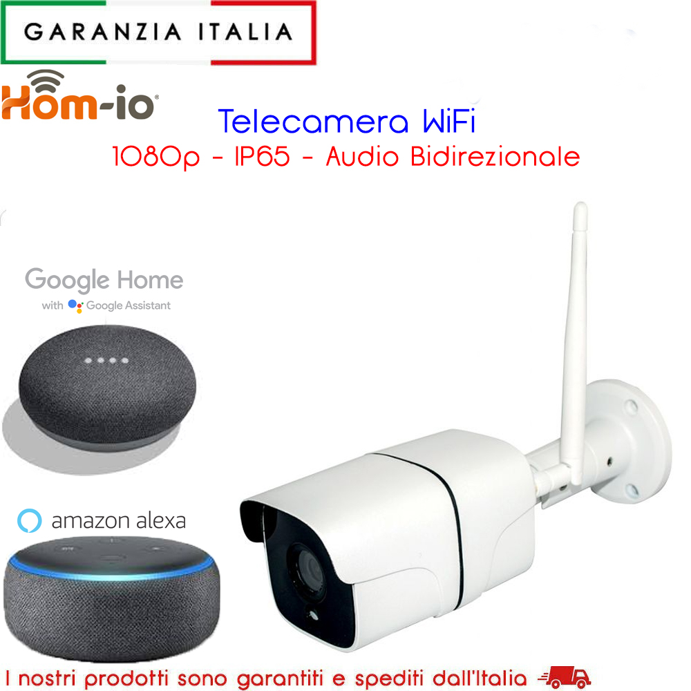 Telecamera WiFi da esterno 1080p Full HD con motion detection IR