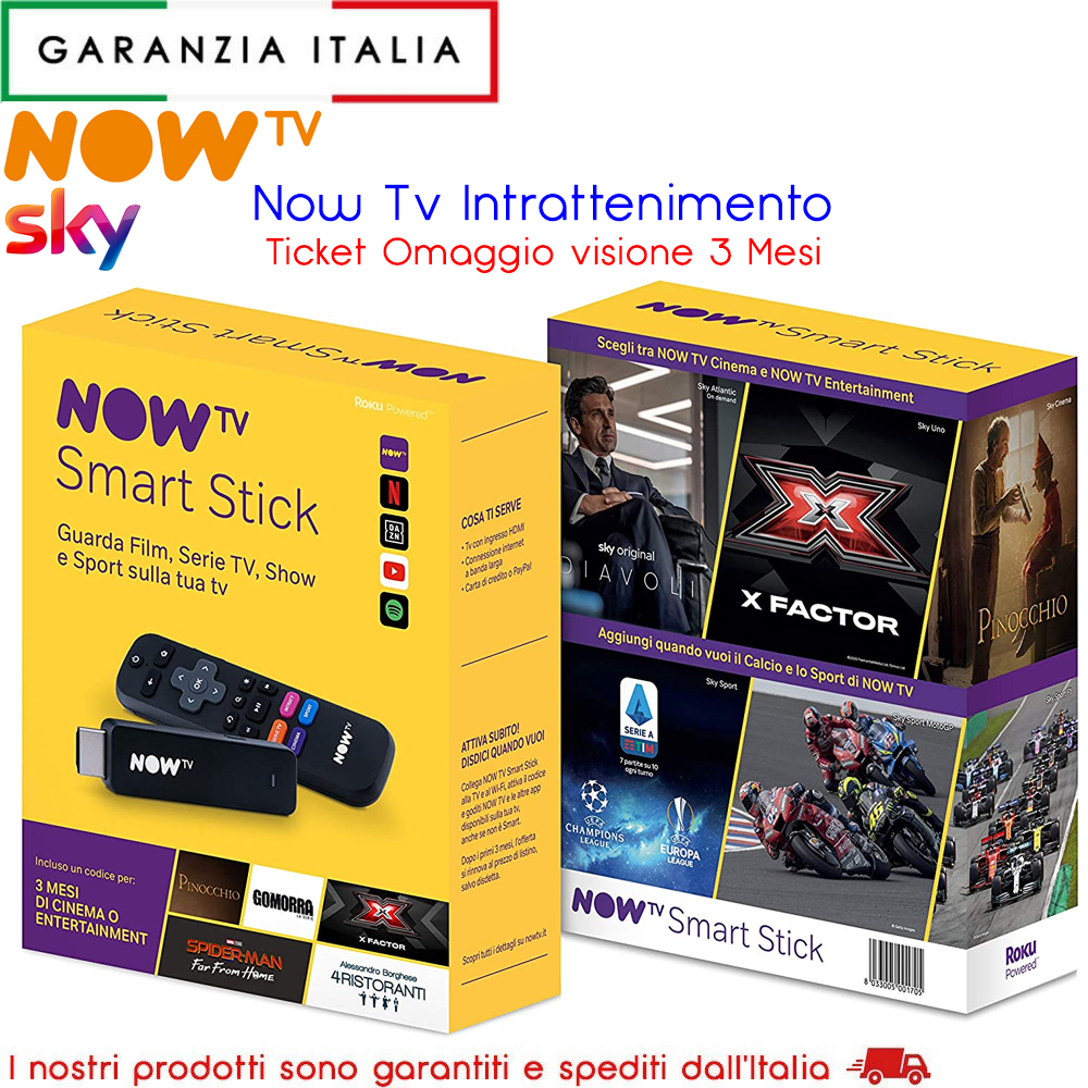 Now Tv Stick con Ticket Intrattenimento - Sky Cinema e Serie Tv - Netflix Dazn