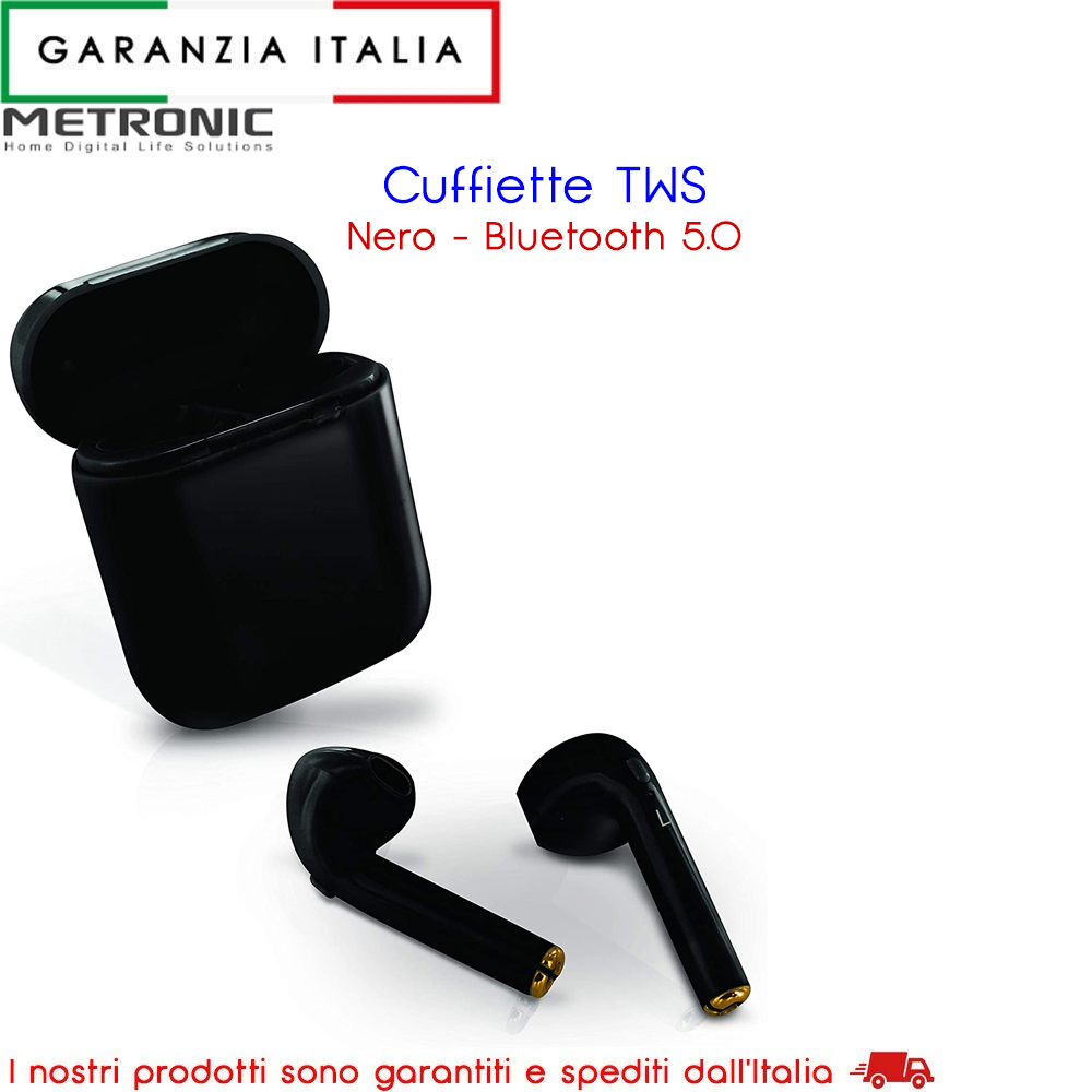 Auricolari BT TWS per Smatphone Bluetooth nero