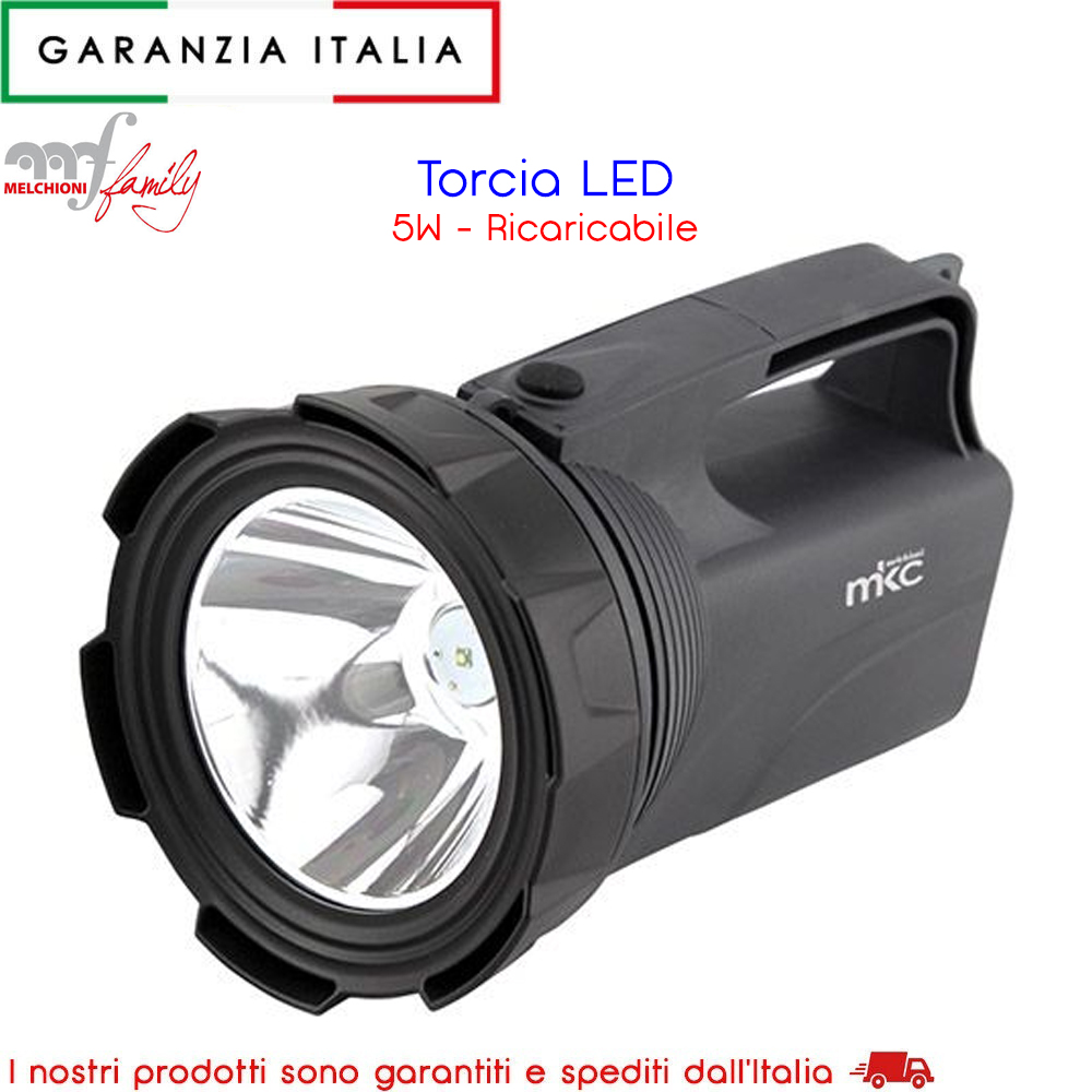 Torcia a led 5W ricaricabile MKC Light 360 Lumen