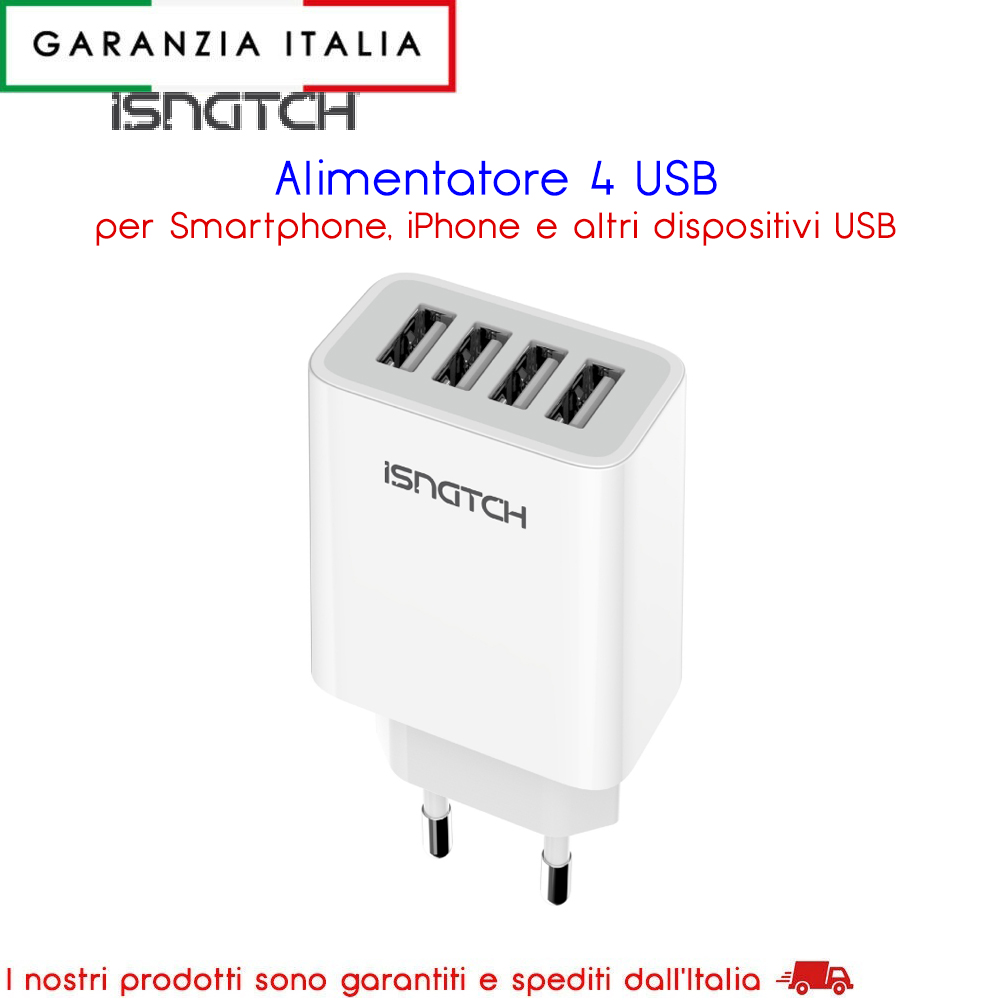 Alimentatore con 4 uscite per iPhone e dispositivI USB