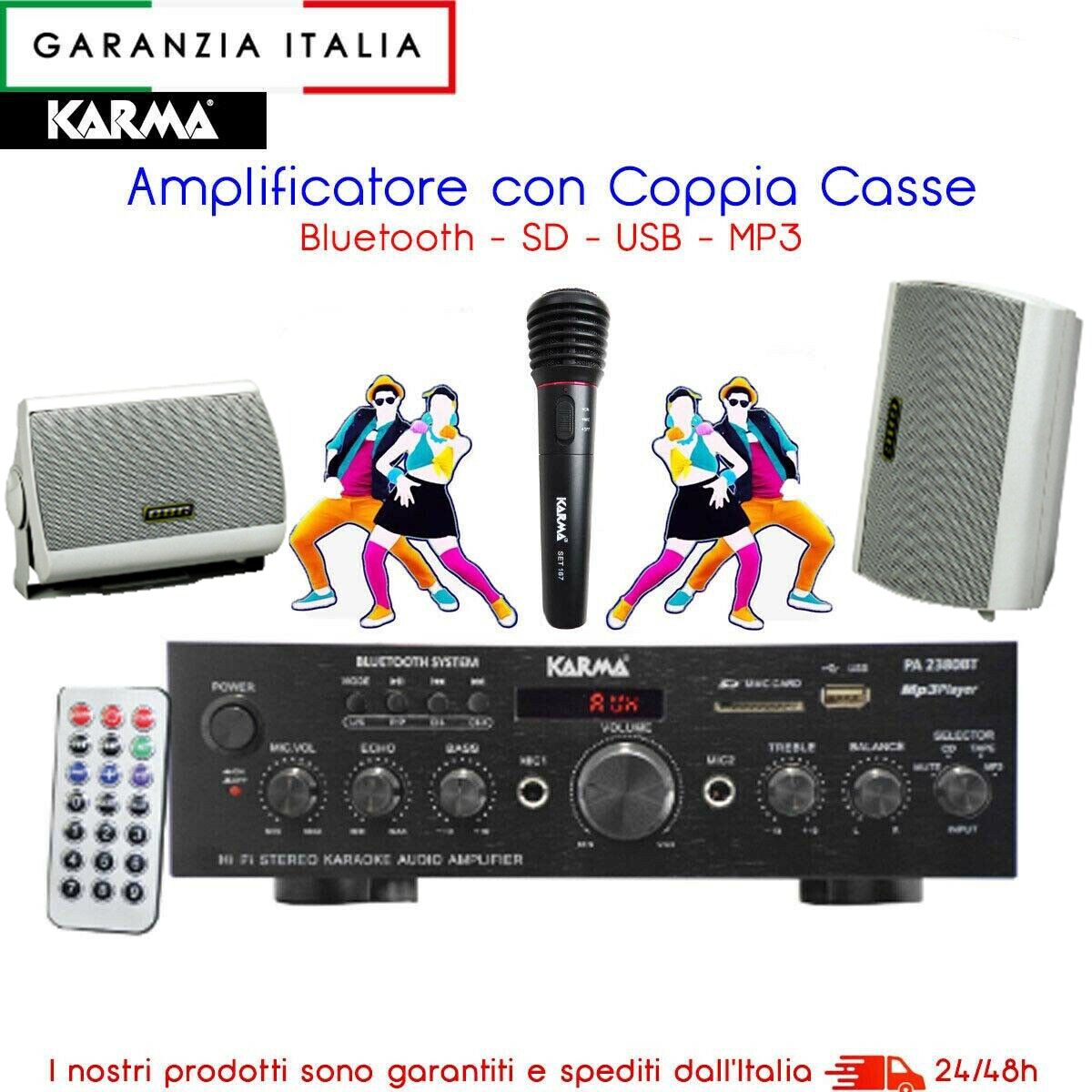 KIT PA2380BT amplificatore stereo con mp3 e bluetooth casse e microfono
