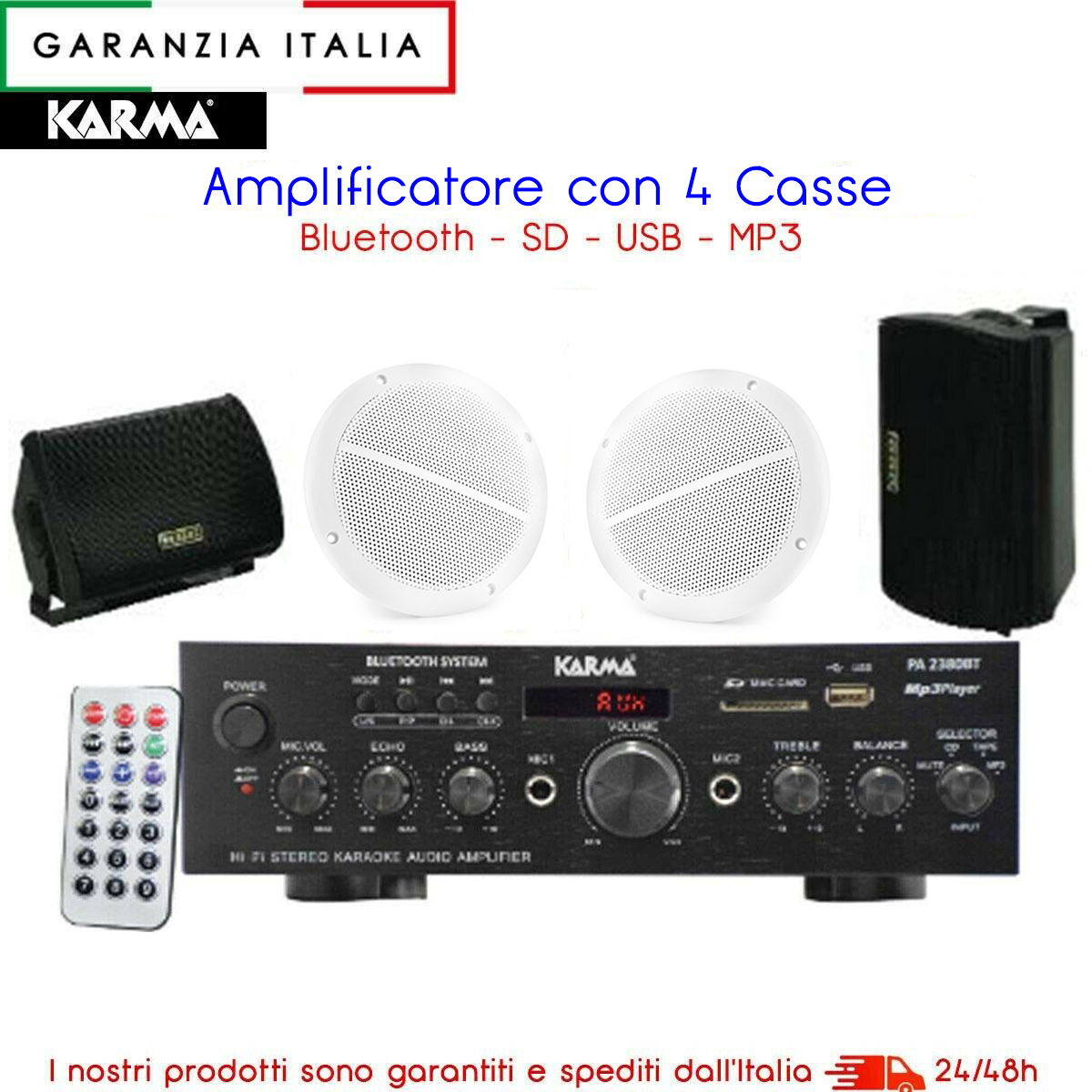 Kit amplificatore stereo PA2380BT bluetooth con 4 altoparlanti neri e bianchi