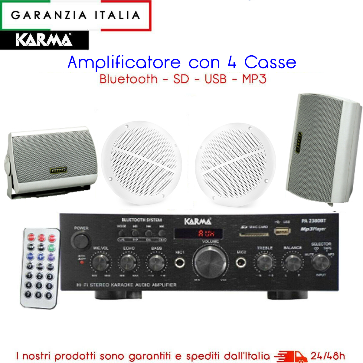 Kit amplificatore stereo PA2380BT bluetooth con 4 altoparlanti bianchi