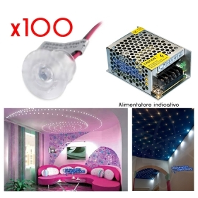 100 MINI SPOT LED 0.3W 12Vdc DIAM.18mm TRASPARENTE