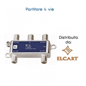 PARTITORE SPLITTER F SATELLITARE 1 INGRESSO 4 USCITE SATELLITE DECODER SKY SATEL