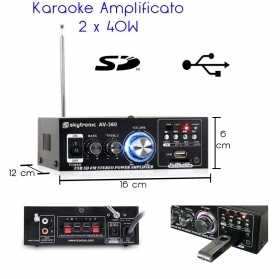 Karaoke Amplificato con USB SD Radio FM MP3 2 x 40W