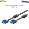 CAVO VIDEO VGA  15 PIN SPINA MASCHIO/MASCHIO 1.8 MT  VGA018 990100