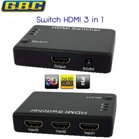 SWITCH HDMI 3 INGRESSI 3D FULL HD con telecomando a infrarossi